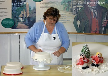 Nikki Bowditch demonstrating some of the secrets of her imaginative and creative Christmas cake decorating.