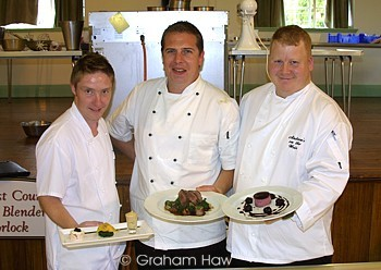 Chefs Scott Dickson, Andrew Croft-Brown and Andrew Dixon at the Launch Event at Porlock Village Hall